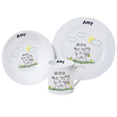 Moo,Breakfast,Set,Moo Breakfast Set,childs breakfast set,childs personalised breakfast set,kids breakfast sets