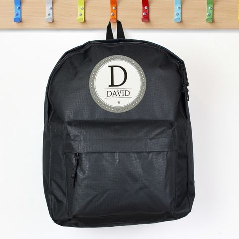 Personalised,Star,Name,Black,Backpack,Back to school,Personalised Childs Backpack,Boys backpack