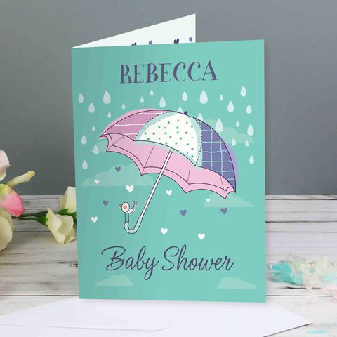 Personalised,Baby,Shower,Umbrella,Card,Personalised Baby Shower Umbrella Card,Baby Shower Card,Cards