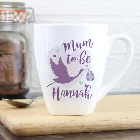 Personalised,Mum,to,Be,Stork,Latte,Mug,Personalised Mum to Be Stork Latte Mug