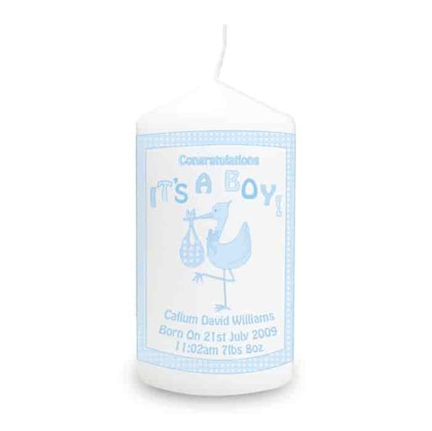Personalised,Stork,It's,a,Boy,Candle,Personalised Stork It's a Boy Candle,boys candles,its a boy candle