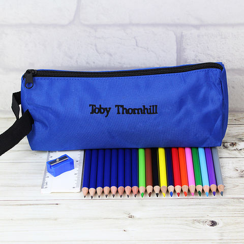 Blue,Case,and,None,Personalised,Content,Blue Case and None Personalised Content,pencil case,pencil colouring pencils,personalised pencil case
