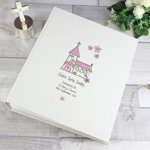 Personalised,Whimsical,Pink,Church,Album,with,Sleeves,Personalised Whimsical Pink Church Album with Sleeves,Photo Albums, Childrens Photo Albums,Personalised Photo Albums