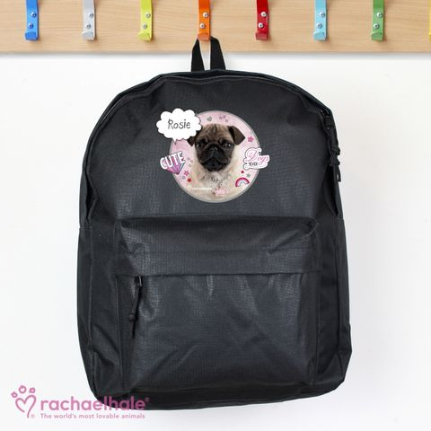 Personalised,Rachael,Hale,Doodle,Pug,Black,Backpack,Rachael Hale Backpack,Girls Backpack,Personalised Rachael Hale Backpack