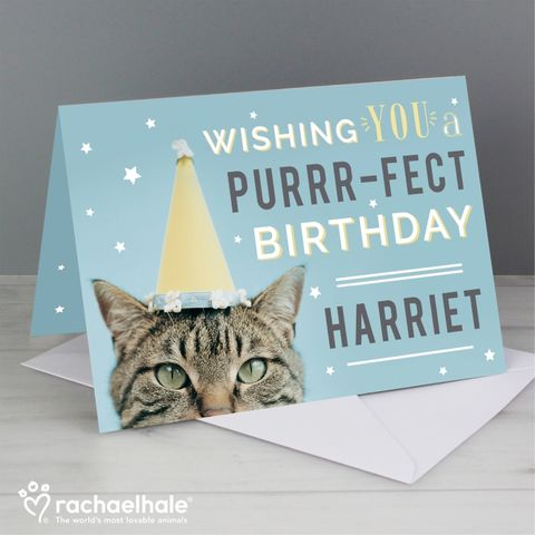 Personalised,Rachael,Hale,Purr-fect,Birthday,Card,Rachael Hale Birthday Card, Personalised Birthday Cards,Personalised Greeting Cards