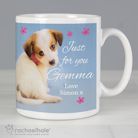 Personalised,Rachael,Hale,'Just,for,You',Puppy,Mug,Rachael Hale Mugs,Personalised Rachael Hale Mugs,Personalised Girls Mugs,Personalised Boys Mugs