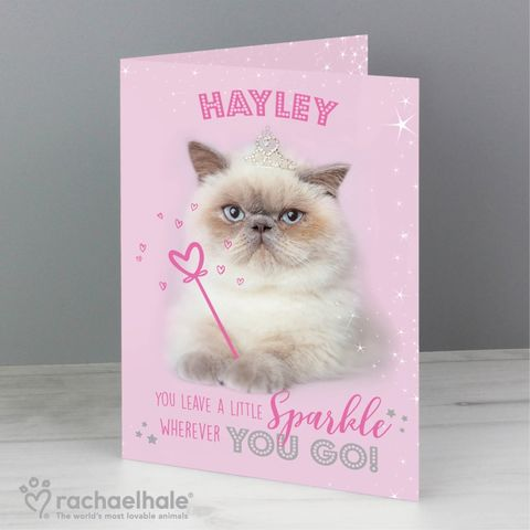 Personalised,Rachael,Hale,Sparkle,Cat,Card,Rachael Hale Greeting Cards,Personalised Greeting Cards,Greeting Cards