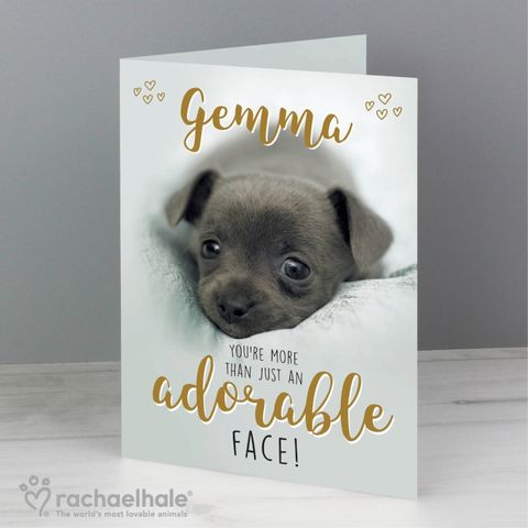 Personalised,Rachael,Hale,Adorable,Face,Card,Greeting Cards, Birthday Greeting Cards,Personalised Greeting Cards