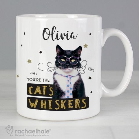 Personalised,Rachael,Hale,'You're,the,Cat's,Whiskers',Mug,Personalised Girls Mugs,Personalised Boys Mugs, Rachael Hale Mugs,Animal Mugs,Cat Mugs, Personalised Animal Mugs