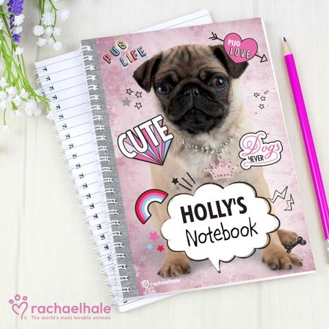 Personalised,Rachael,Hale,Doodle,Pug,A5,Notebook,Notebooks for Kids, Personalised Notebooks,Personalised Animal Notebooks,Personalised Pug Notebooks,Rachael Hale Notebooks