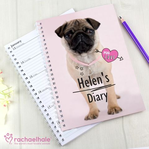 Personalised,Rachael,Hale,Doodle,Pug,A5,Diary,A5 Diary,Personalised A5 Diarys,Animal Diarys,Personalised Animal Diarys,Personalised Girls Diarys,Rachael Hale Diarys