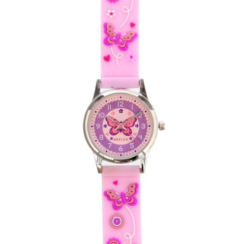 Personalised,Kids,Pink,Time,Teacher,Butterfly,Watch,with,Presentation,Box,Kids Watches, Girls Watches,Personalised Girls Watches,Pink Watches.