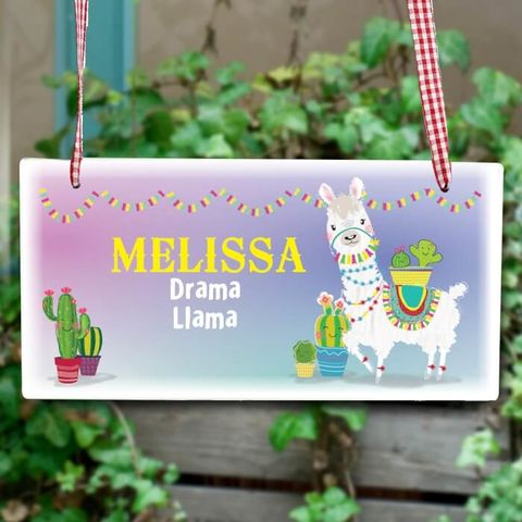 Personalised,Llama,Wooden,Sign,Door Plaques, Personalised Llama Wooden Sign,Wooden Sign,Childrens Wooden Sign,Childrens Door Sign