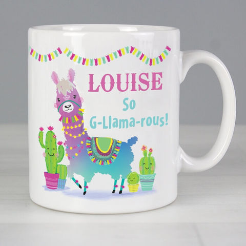 Personalised,Pink,Llama,Mug,Personalised Pink Llama Mug,GIrls Mugs,Personalised Girls Mugs, Llama Mug