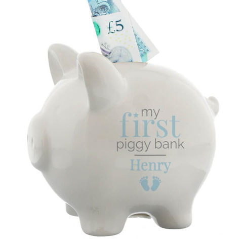 Personalised,Blue,My,First,Piggy,Bank,Personalised Blue My First Piggy Bank,Blue My First Piggy Bank, Blue Piggy Bank,Boys Blue Piggy Bank