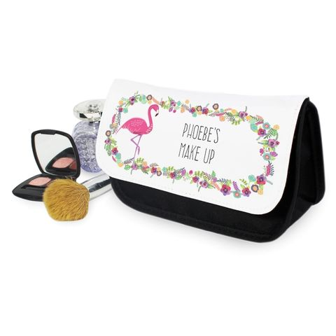 Personalised,Flamingo,Make,Up,Bag,Make Up Bags, Personalised Flamingo Make Up Bag, Girls Make Up Bag,Flamingo Make Up Bag,Make Up BAg