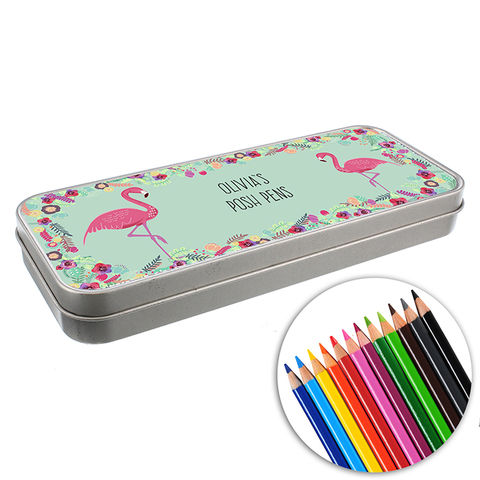 Personalised,Flamingo,Pencil,Tin,with,Crayons,Pens Pencils & Pencil Cases, Personalised Flamingo Pencil Tin with Pencil Crayons,Pencil Tin with Pencil Crayons, Boys Pencil Sets, Girls Pencil Sets