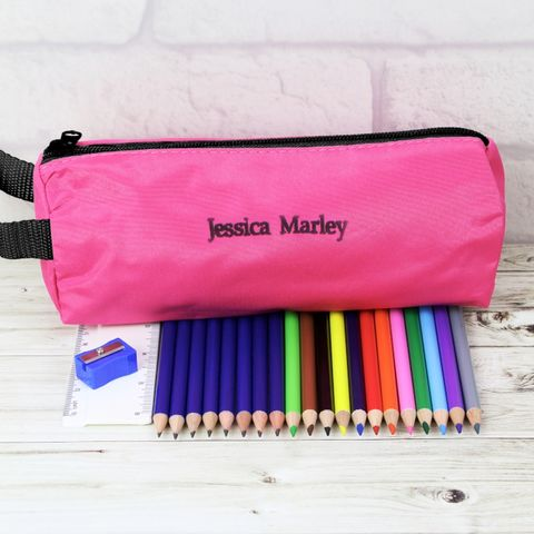 Pink,Pencil,Case,&,Personalised,Content,Pink Pencil Case & Personalised Content,pink pencil case and pencils,pencil cse and pencils,personalised pencil set