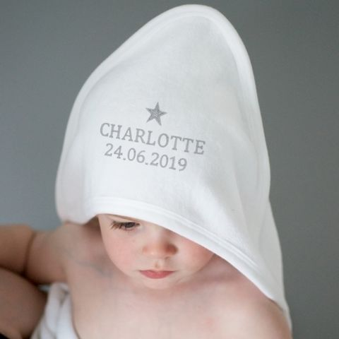 Silver,Star,White,Hooded,Baby,Towel,Silver Star White Hooded Baby Towel