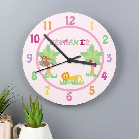 Animal,Alphabet,Girls,Clock,Animal Alphabet Girls Clock