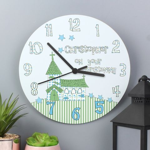 Church,Boys,Christening,Clock,Church Boys Christening Clock