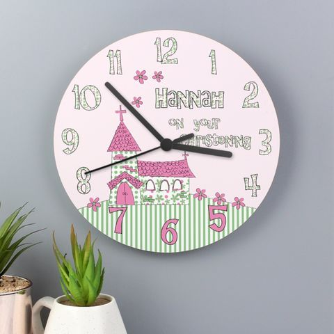 Whimsical,Church,Christening,Clock,Whimsical Church Christening Clock