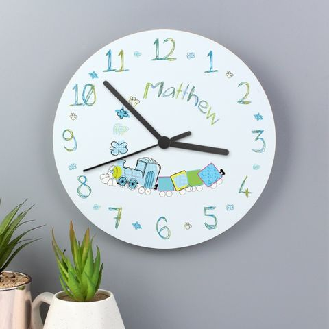 Patchwork,Train,Clock,Patchwork Train Clock