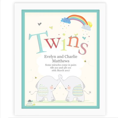 Hessian,Elephant,Twins,White,Framed,Poster,Print,Hessian Elephant Twins White Framed Poster Print
