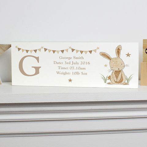 Personalised,Hessian,Rabbit,Wooden,Block,Sign,Hessian Rabbit Wooden Block Sign