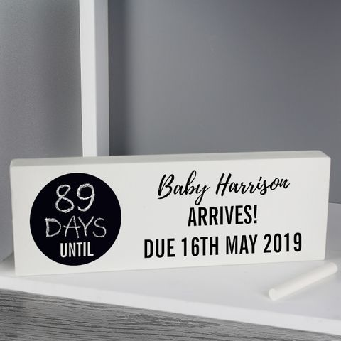 Personalised,Classic,Chalk,Countdown,Wooden,Block,Sign,Classic Chalk Countdown Wooden Block Sign