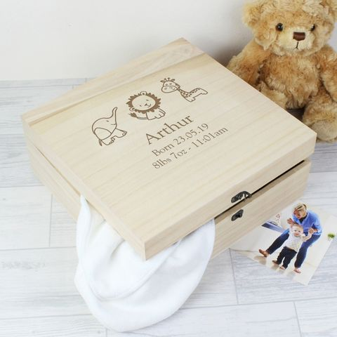 Personalised,Hessian,Friends,Large,Wooden,Keepsake,Box,Hessian Friends Large Wooden Keepsake Box