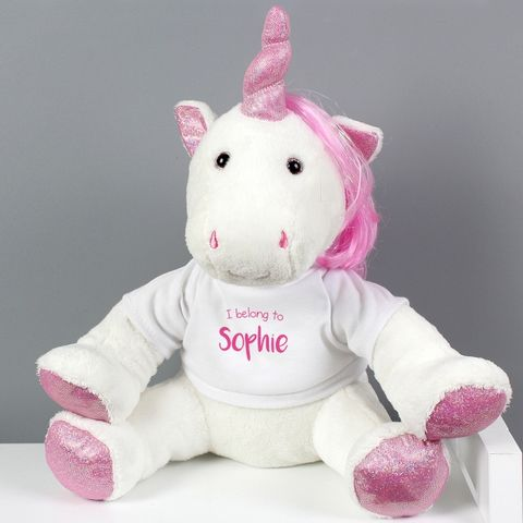 Personalised,'I,Belong,To',Plush,Unicorn,I Belong To' Plush Unicorn,Plush Unicorn,Plush Unicorn Soft Toy