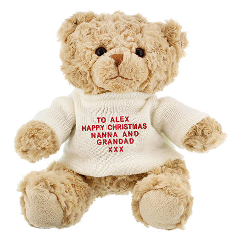 Personalised,Teddy,Message,Bear,In,Cream,Jumper,Teddy Message Bear In Cream Jumper