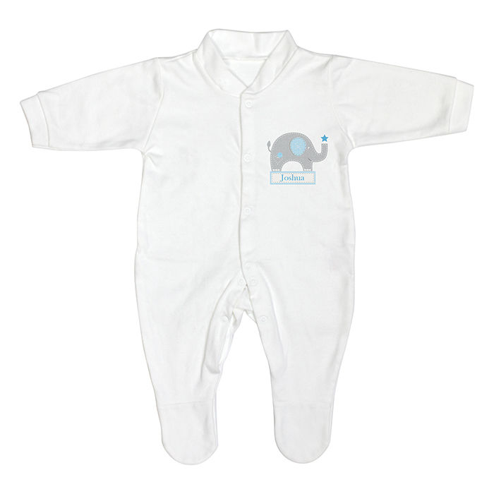 Blue Elephant 0-3 Months Baby Grow childrens personalised gifts