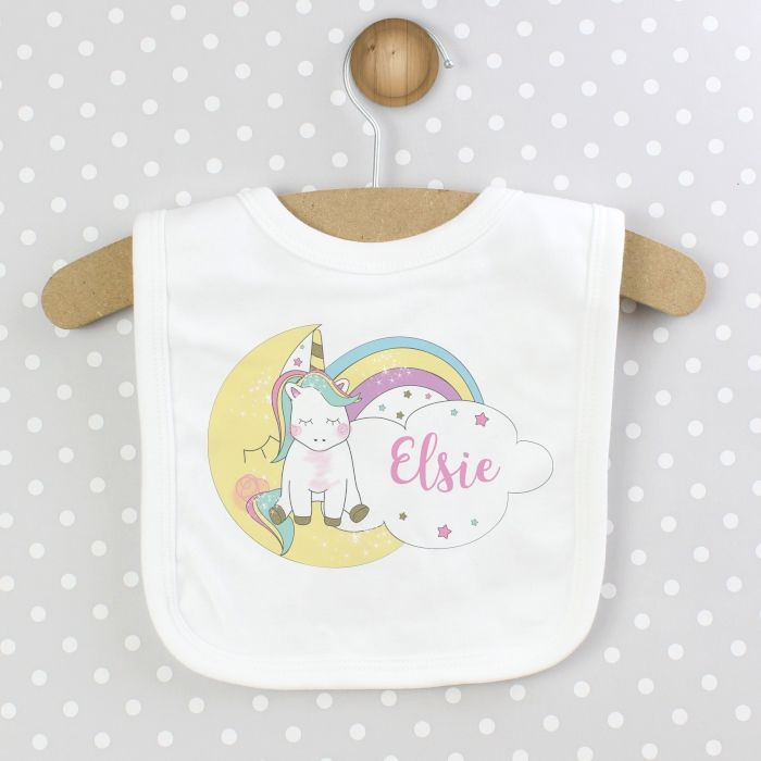 Baby unicorn bib childrens personalised gifts
