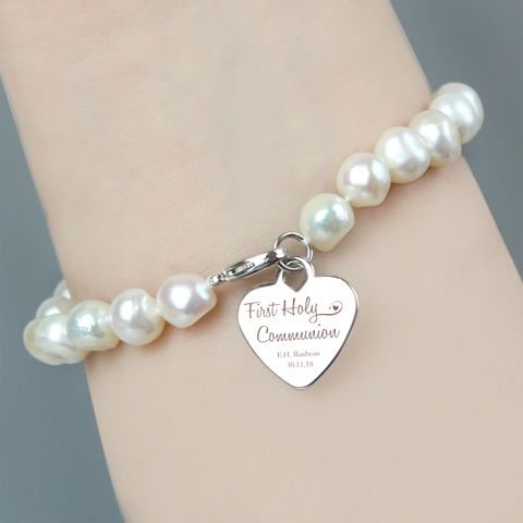 First,Holy,Communion,Swirls,&,Hearts,White,Freshwater,Pearl,Bracelet, First Holy Communion Swirls & Hearts White Freshwater Pearl Bracelet