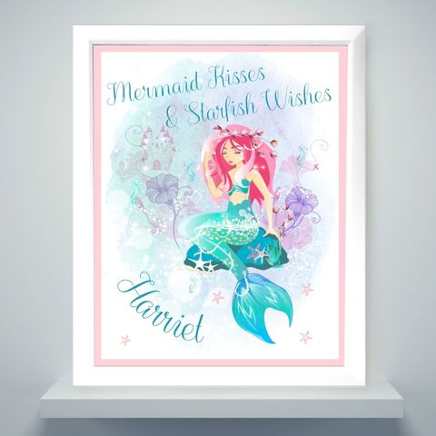 Mermaid,White,Framed,Poster,Print,Mermaid White Framed Poster Print