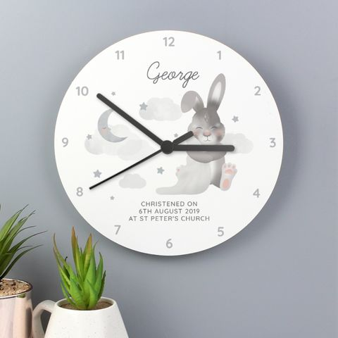 Baby,Bunny,White,Wooden,Clock,Baby Bunny White Wooden Clock