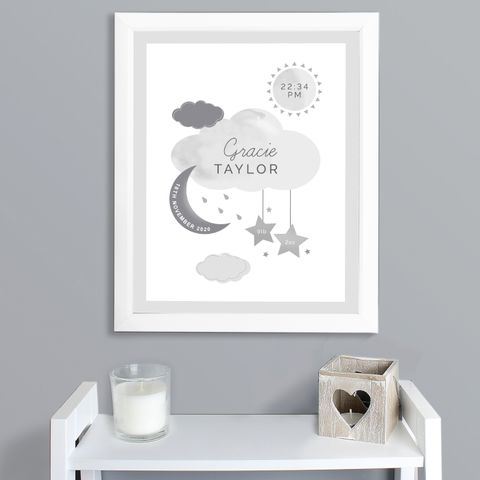 New,Baby,Moon,&,Stars,White,Framed,Nursery,Print,New Baby Moon & Stars White Framed Nursery Print