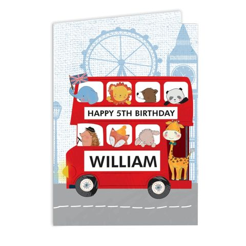 London,Animal,Bus,Card,London Animal Bus Card