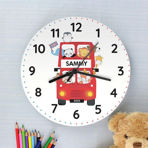 London,Animal,Bus,Wooden,Clock,London Animal Bus Wooden Clock