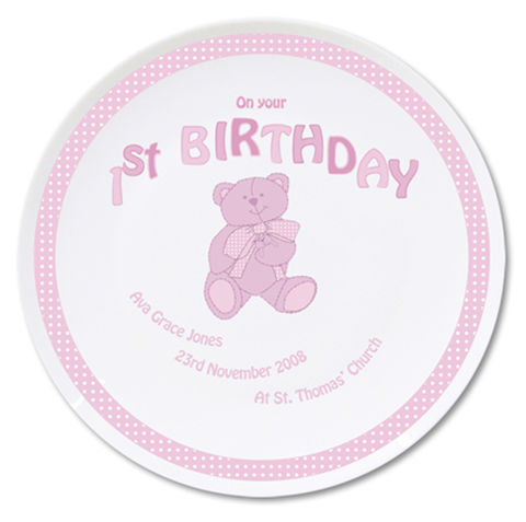 Teddy,Pink,1st,Birthday,Plate,Teddy Pink 1st Birthday Plate
