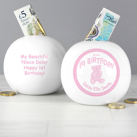 Teddy,Pink,1st,Birthday,Money,Box,Teddy Pink 1st Birthday Money Box