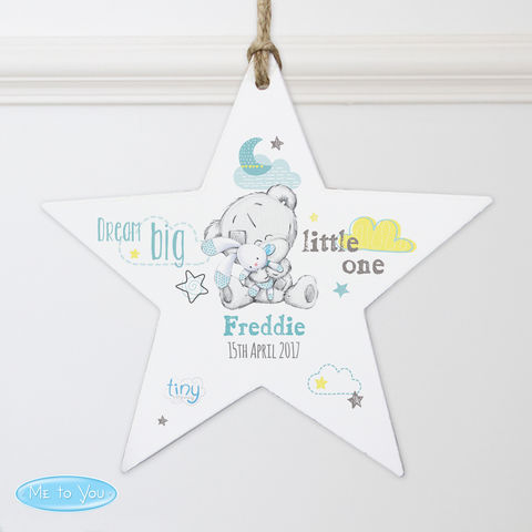 Tiny,Tatty,Teddy,Blue,Dream,Big,Wooden,Star,Decoration,Tiny Tatty Teddy Blue Dream Big Wooden Star Decoration