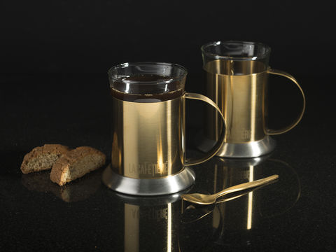 La,Cafetiere,Edited,Set,Of,2,Glass,Cups,Brushed,Gold,Glass set, Coffee, Coffee Cups, Stainless Steel, Hot Drink, Glass, Cafetiere