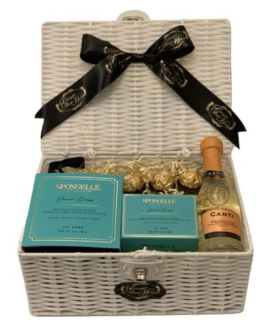 Beach,Grass,and,Prosecco,Gift,Hamper,Spongelle, Christmas, Gifts, Gift Hamper, Prosecco, Gifts for Her
