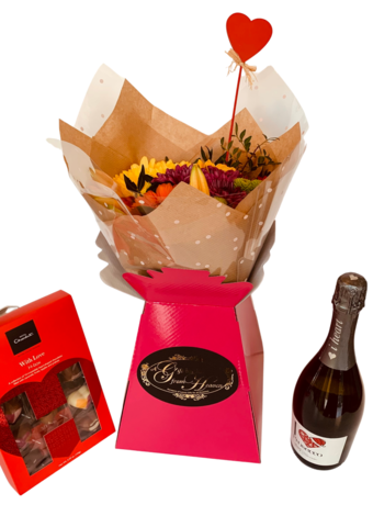 Sunshine,Romance,Bouquet,of,Fresh,Flowers,,Prosecco,and,Chocolates,Romance Bouquet, Valentines Day, Valentines Gifts, Flowers