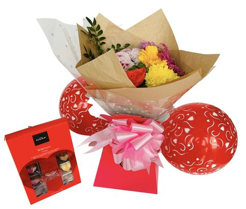 Citrus,Romance,Bouquet,of,Fresh,Flowers,and,Chocolates,Romance Bouquet, Valentines Day, Valentines Gifts, Flowers