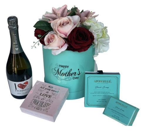 Tiffany,Flower,Hat,Box,and,Prosecco,Collection,Mother's Day Gift, Mum Gifts, Gifts