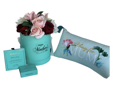 Tiffany,Flower,Hat,Box,and,Mum,Cushion,Mother's Day Gift, Mum Gifts, Gifts